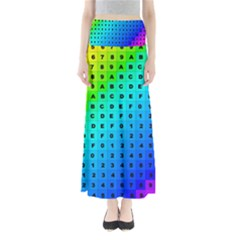 Letters Numbers Color Green Pink Purple Maxi Skirts