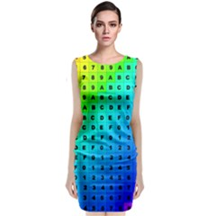 Letters Numbers Color Green Pink Purple Classic Sleeveless Midi Dress