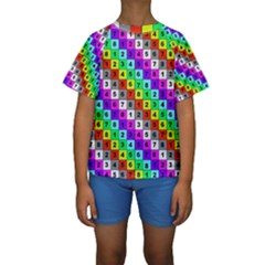 Mapping Grid Number Color Kids  Short Sleeve Swimwear