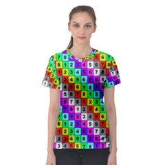 Mapping Grid Number Color Women s Sport Mesh Tee