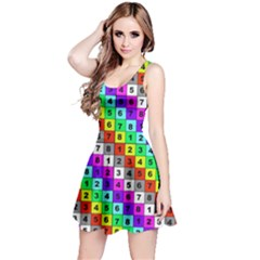 Mapping Grid Number Color Reversible Sleeveless Dress