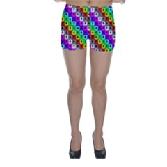 Mapping Grid Number Color Skinny Shorts