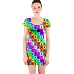 Mapping Grid Number Color Short Sleeve Bodycon Dress