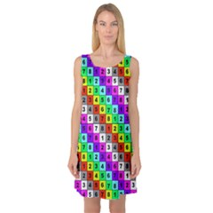 Mapping Grid Number Color Sleeveless Satin Nightdress