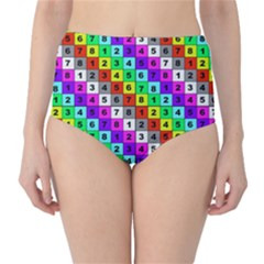 Mapping Grid Number Color High-Waist Bikini Bottoms