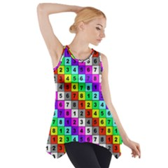 Mapping Grid Number Color Side Drop Tank Tunic