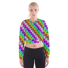 Mapping Grid Number Color Women s Cropped Sweatshirt