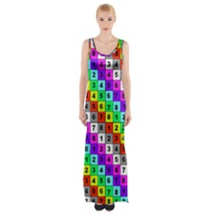 Mapping Grid Number Color Maxi Thigh Split Dress