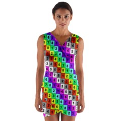 Mapping Grid Number Color Wrap Front Bodycon Dress
