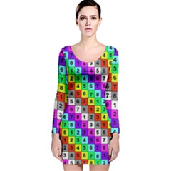 Mapping Grid Number Color Long Sleeve Velvet Bodycon Dress