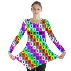 Mapping Grid Number Color Long Sleeve Tunic