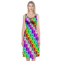 Mapping Grid Number Color Midi Sleeveless Dress