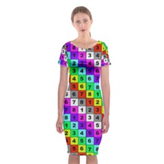 Mapping Grid Number Color Classic Short Sleeve Midi Dress