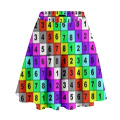 Mapping Grid Number Color High Waist Skirt