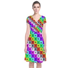 Mapping Grid Number Color Short Sleeve Front Wrap Dress