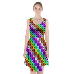 Mapping Grid Number Color Racerback Midi Dress