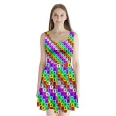 Mapping Grid Number Color Split Back Mini Dress