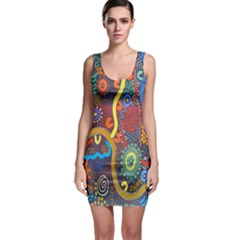 Mbantua Aboriginal Art Gallery Cultural Museum Australia Sleeveless Bodycon Dress
