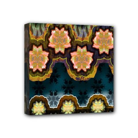 Ornate Floral Textile Mini Canvas 4  x 4