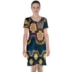 Ornate Floral Textile Short Sleeve Nightdress