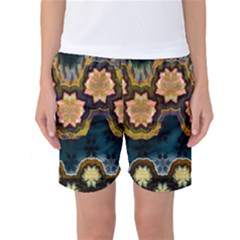Ornate Floral Textile Women s Basketball Shorts