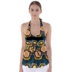 Ornate Floral Textile Babydoll Tankini Top