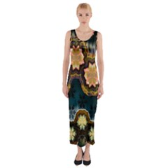 Ornate Floral Textile Fitted Maxi Dress