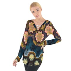 Ornate Floral Textile Women s Tie Up Tee