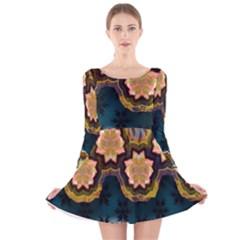 Ornate Floral Textile Long Sleeve Velvet Skater Dress