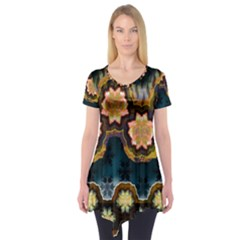 Ornate Floral Textile Short Sleeve Tunic