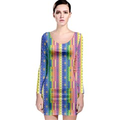 Psychedelic Carpet Long Sleeve Bodycon Dress
