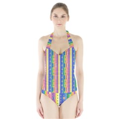 Psychedelic Carpet Halter Swimsuit