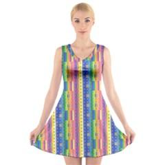 Psychedelic Carpet V-Neck Sleeveless Skater Dress