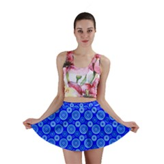 Neon Circles Vector Seamles Blue Mini Skirt