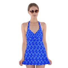Neon Circles Vector Seamles Blue Halter Swimsuit Dress