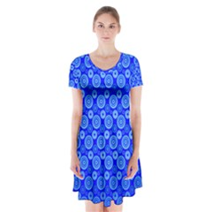Neon Circles Vector Seamles Blue Short Sleeve V-neck Flare Dress