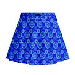 Neon Circles Vector Seamles Blue Mini Flare Skirt