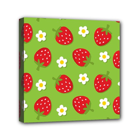 Strawberries Flower Floral Red Green Mini Canvas 6  x 6