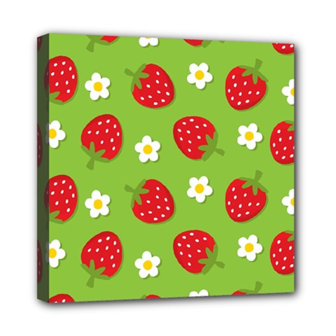 Strawberries Flower Floral Red Green Mini Canvas 8  x 8