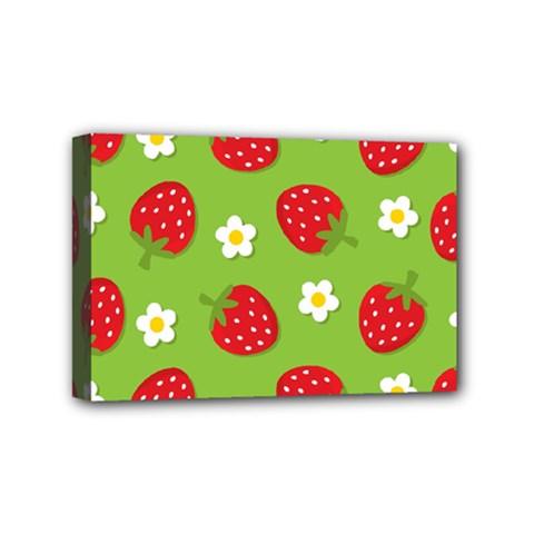 Strawberries Flower Floral Red Green Mini Canvas 6  x 4