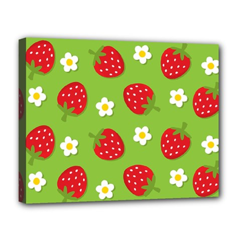 Strawberries Flower Floral Red Green Canvas 14  x 11