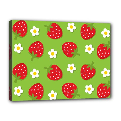 Strawberries Flower Floral Red Green Canvas 16  x 12