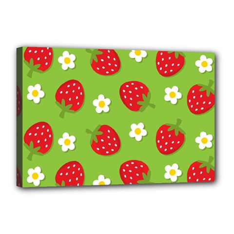 Strawberries Flower Floral Red Green Canvas 18  x 12