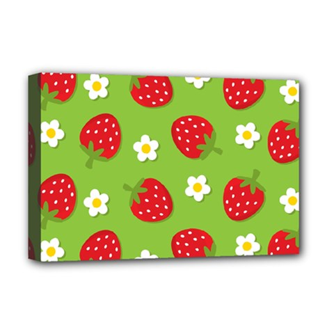 Strawberries Flower Floral Red Green Deluxe Canvas 18  x 12
