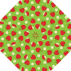 Strawberries Flower Floral Red Green Hook Handle Umbrellas (Small)
