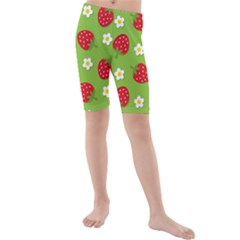 Strawberries Flower Floral Red Green Kids  Mid Length Swim Shorts