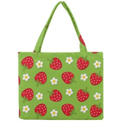 Strawberries Flower Floral Red Green Mini Tote Bag