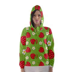 Strawberries Flower Floral Red Green Hooded Wind Breaker (Women)