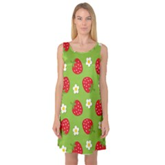 Strawberries Flower Floral Red Green Sleeveless Satin Nightdress