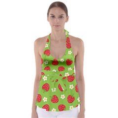 Strawberries Flower Floral Red Green Babydoll Tankini Top